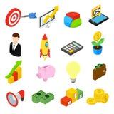 Icônes isométriques d'affaires réglées Photographie stock