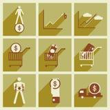 Icônes plates de collection moderne avec des sciences économiques d'ombre Photo stock
