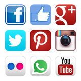Icônes sociales de media Photo stock