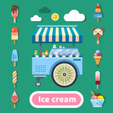 Ice cream trolley on a hot sunny day Royalty Free Stock Photography