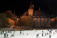 Ice skating in Budapest Stock Photography