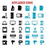 Icone piane dell'attrezzatura e dell'elettrodomestico Fotografie Stock Libere da Diritti