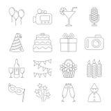 Iconos de la línea del partido del cumpleaños Fotos de archivo