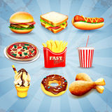 Icons fast food Royalty Free Stock Photo