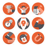 Icons of Motivation and Setting Goals Royalty Free Stock Photo