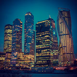 Illuminated Skyscrapers Buildings in Moscow Royalty Free Stock Photography