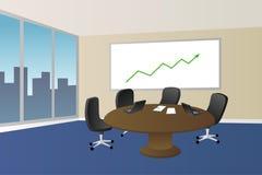 Illustration bleue beige de fenêtre de chaise de table de lieu de réunion de bureau Photo stock