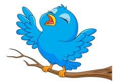 Blue bird cartoon singing Royalty Free Stock Photos