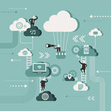 Illustration concept of explore cloud network Stock Photo