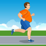 Illustration of a fat cartoon man jogging, weight loss concept, Stock Photography
