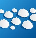 Set cut out clouds, blue paper Stock Photo