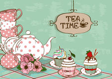 Illustration with still life of tea set and cupcakes Royalty Free Stock Photos