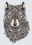 Illustrazione astratta altamente dettagliata del lupo Fotografie Stock Libere da Diritti