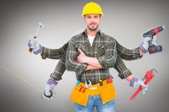 Immagine composita del carpentiere con molti armi Fotografia Stock Libera da Diritti