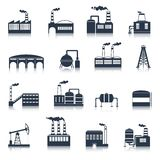 Industrial building icons black Royalty Free Stock Photography