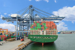 Industrial Container Cargo freight ship with working crane bridg Stock Images