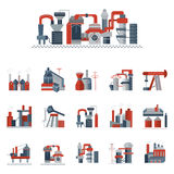Industrial factories flat color icons Royalty Free Stock Photography