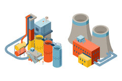 Industrial factory buildings, 3d isometric flat Royalty Free Stock Photos