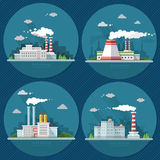 Industrial landscape set. The nuclear power plant and factory on Royalty Free Stock Images