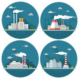 Industrial landscape set. The nuclear power plant and factory on Royalty Free Stock Image