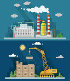Industrial landscape set. The nuclear power plant and factory Stock Image