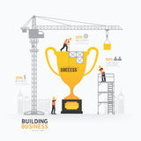 Infographic business trophies shape template design.building to Stock Image
