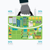 Infographic businessman hand hold business bag shape template. Stock Images
