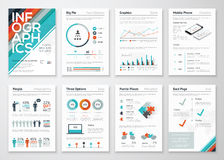 Infographic flyer and brochure elements for business data visualization Stock Photos