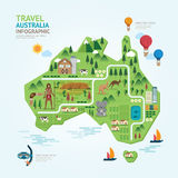 Infographic travel and landmark australia map shape template. Stock Photo