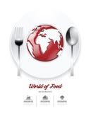 Infographic world of food Design template. tomato sauce on world Stock Photo
