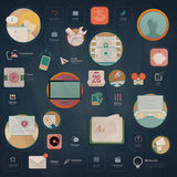 Infographics elements: Collection of colorful flat kit UI navigation elements with icons for personal portfolio website and mobile Stock Images