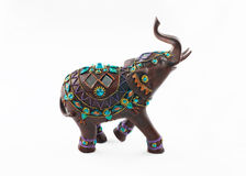 Inlaid precious stones wooden elephant  isolated on white background Stock Images