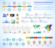 Insieme della cronologia Infographic con i diagrammi ed il testo Vector l'illustrazione di concetto per la presentazione di affar Immagini Stock Libere da Diritti