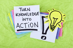 Inspirational Motivational Business Success Phrase Note Turn Knowledge Into Action Royalty Free Stock Images