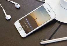 Instagram page on Iphone 5s screen Royalty Free Stock Images