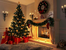 Interior with Christmas tree, presents and fireplace. Postcard. Royalty Free Stock Image