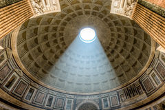 Interior Pantheon dome with sunlight shining in Rome Stock Photos
