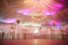 Interior of a wedding tent decoration ready for guests Royalty Free Stock Photos