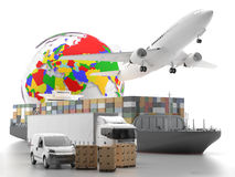International goods transport with globe on background Royalty Free Stock Image