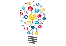 Internet of Things (IOT) concept. Vector illustration of light bulb representing digital smart ideas, machine learning Royalty Free Stock Photos