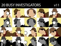 Investigators with magnifying glass Stock Photo