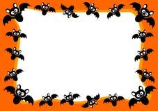 Halloween Invitation Card Flying Bats Frame Stock Image