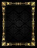Invitation card ornamental frame and damask backgr Stock Images