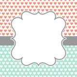 Invitation Card with polka hearts and frame Stock Photos