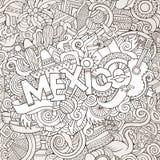 Iscrizione della mano del Messico ed elementi di scarabocchi Fotografie Stock