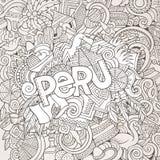 Iscrizione della mano del Perù ed elementi di scarabocchi Fotografia Stock Libera da Diritti
