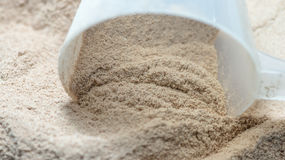 Isolate protein powder flavour with scoop macro Stock Photography