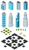 Isometric city map creation kit with buildings, roads, trees, bushes and car. Stock Photo