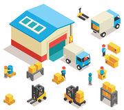 Isometric factory distribution warehouse building Royalty Free Stock Images