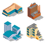 Isometric factory and industrial buildings set Stock Images